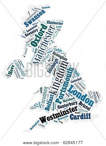 abstract map of United Kingdom word cloud