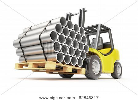 Metal pipe on the forklift