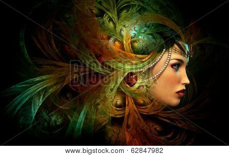 Lady With An Elegant Headdress, Cg