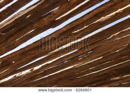 Old Wooden Roof At A Slant