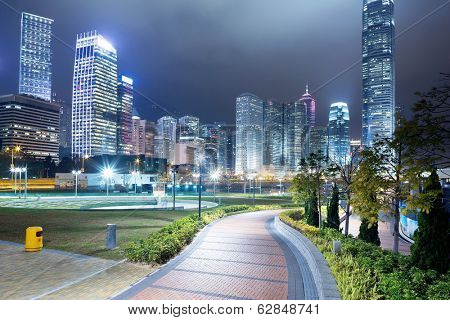 City pathway in the night