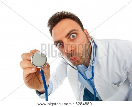 Funny Young Doctor Man With Stethoscope