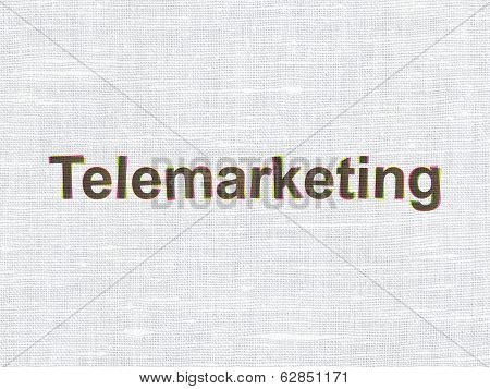 Advertising concept: Telemarketing on fabric texture background