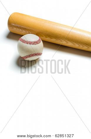 A wooden baseball bat and ball on a white background