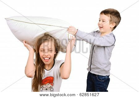 Boy And Girl Fighting Pillow