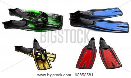 Set Of Multicolored Swim Fins, Masks And Snorkel For Diving