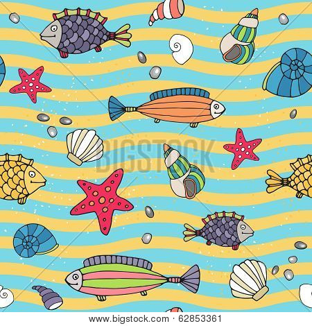 Seamless pattern of sea life on the seashore
