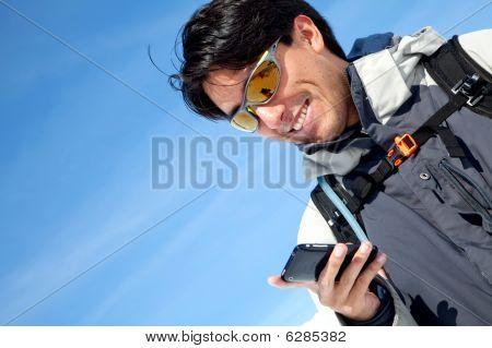 Man Texting Outdoors