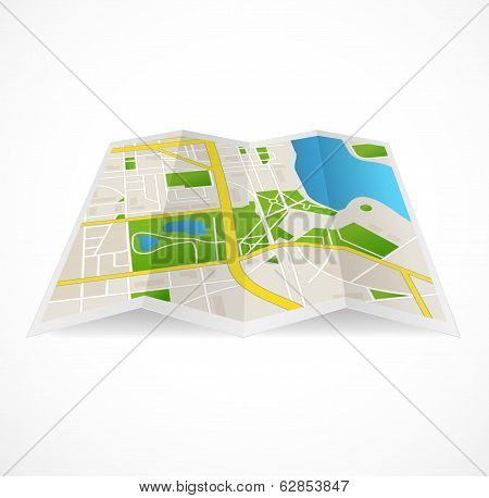 Vector cbstract city map and river