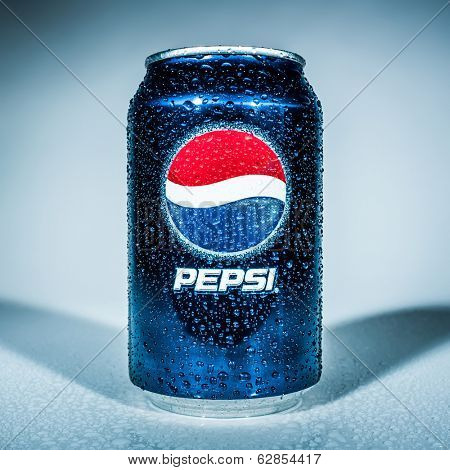 MOSCOW, RUSSIA-APRIL 4, 2014: Can of Pepsi cola. Pepsi is a carbonated soft drink that is produced and manufactured by PepsiCo. Created and developed in 1893.