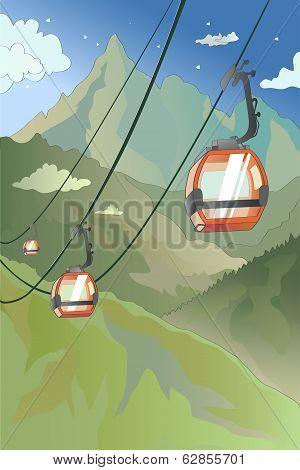 Cartoon Mountain Cableway
