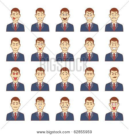 Large set of male emotions