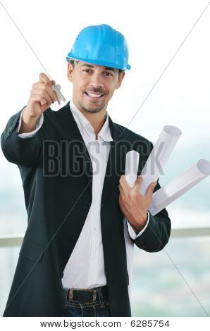 Isolated Business Man Hold Keys