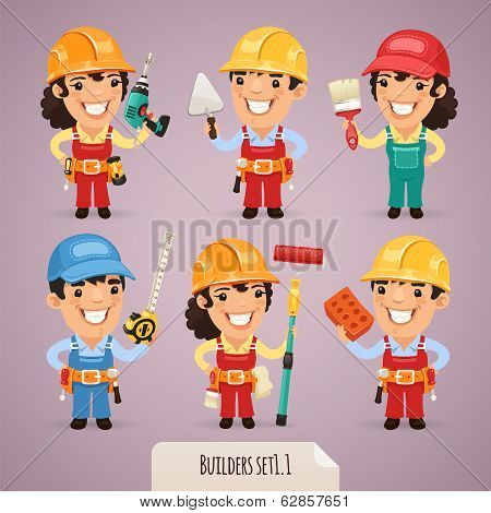 Builders Cartoon Characters Set1.1