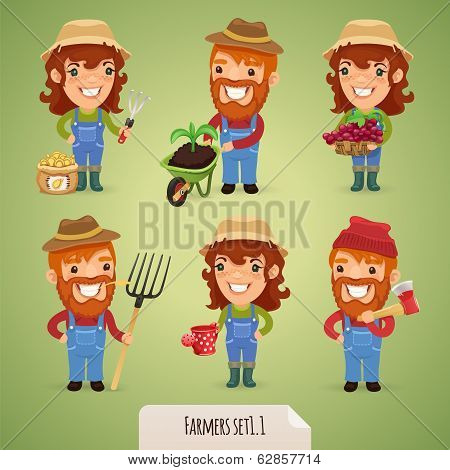 Farmers Cartoon Characters Set1.1