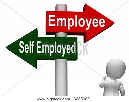 Employee Self Employed Signpost Means Choose Career Job Choice
