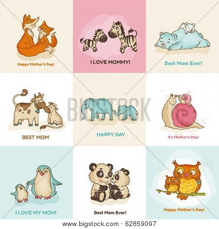 Happy Mother's Day Cards - with cute animals - in vector