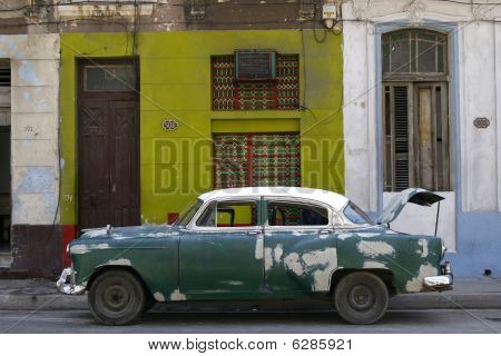 Old Vintage Car On The Street. Havana, Cuba