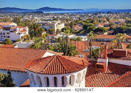 Orange Roofs Buildings Pacific Ocean Santa Barbara California