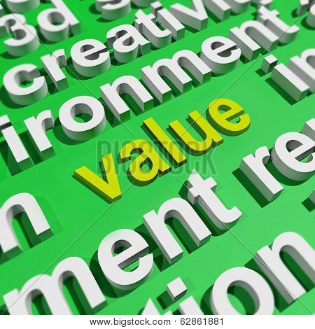Value In Word Cloud Shows Worth Importance Or Significance