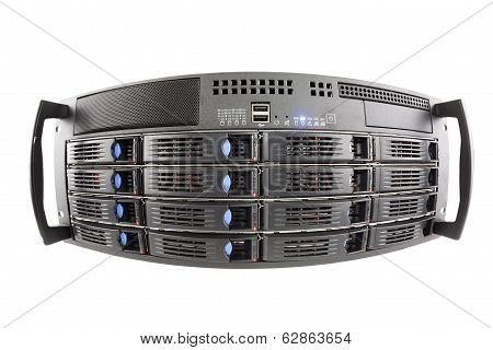 Storage Server Fisheye View On White Background