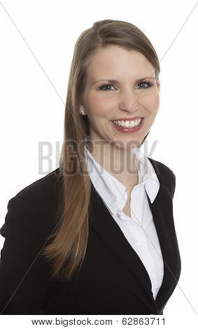 Portrait Of A Smiling Young Businesswoman On White Background
