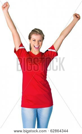 Cheering football fan in red on white background