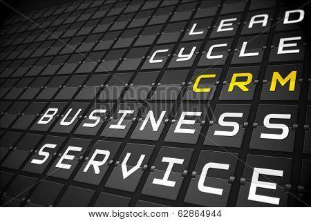 CRM buzzwords on digitally generated black mechanical board