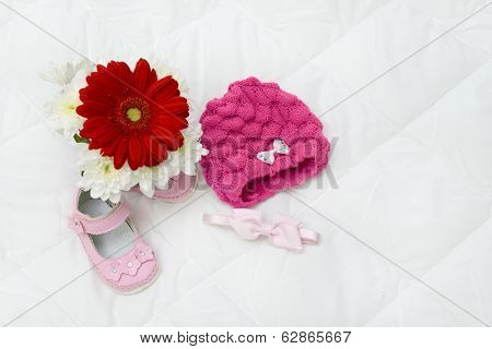 Gerbera Pink and Baby Shoes