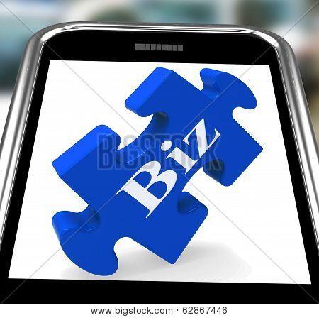 Biz Smartphone Shows Internet Business Or Shop
