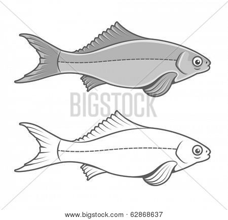 Silhouette of fish contour drawing. Eps8 vector illustration. Isolated on white background