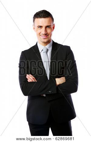 Portrait of a cheerful businessman with arms folded isolated on a white background