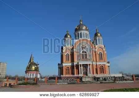 KIEV, UKRAINE - APR 7, 2014:Modern Orthodox Cathedral undtr construction.April 7, 2014 Kiev, Ukraine