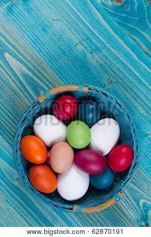 Easter Basket With Color Eggs