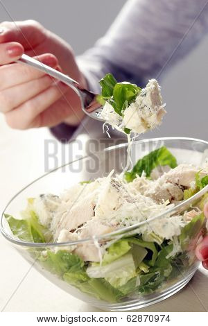 Delicious salad with cheese on the table