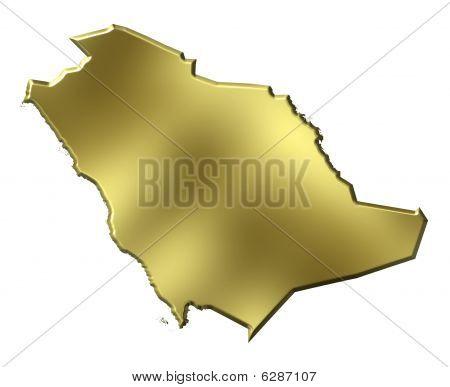 Saudi Arabia 3D Golden Map