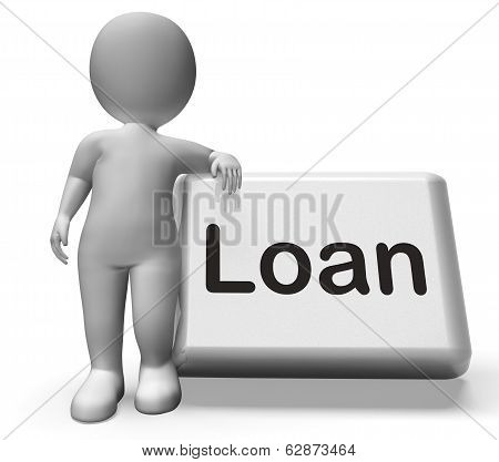 Loan Button With Character  Means Lending Or Providing Advance