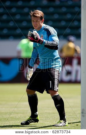 CARSON, CA - APRIL 6: Chivas USA GK Dan Kennedy (1) during the MLS game between the Los Angeles Galaxy & Chivas USA on April 6th 2014 at the StubHub Center in Carson, Ca.