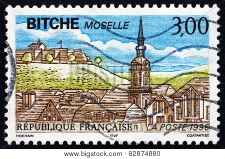 Postage Stamp France 1990 View Of Bitche, Moselle