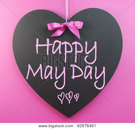 Happy May Day Handwriting Greeting On Heart Shaped Blackboard For 1St First Of May Celebrations On P