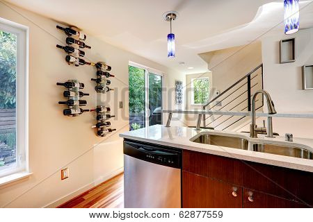 Kitchen Area With Walkout Deck
