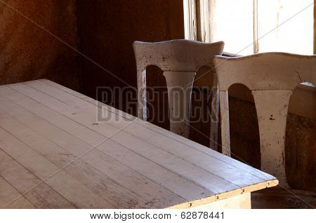 Ghost town dining room in Bodie, California