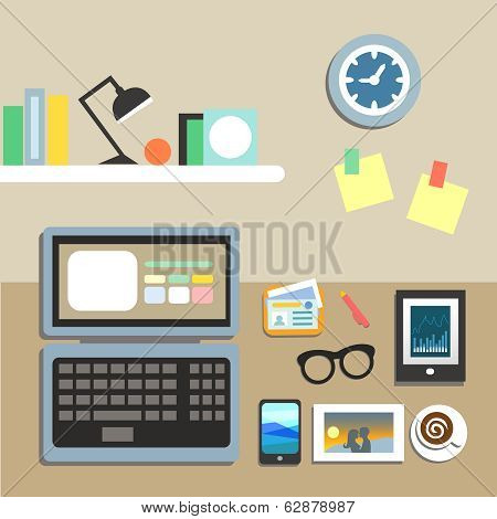 Set of office workplace items
