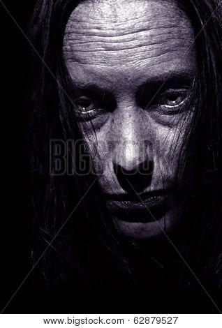Very Intense Close Portrait of Depression on Black