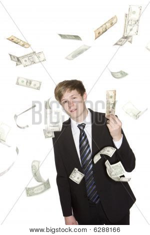 man in money rain