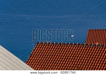 Croatian Red Tiled Roofs - Stock Photo