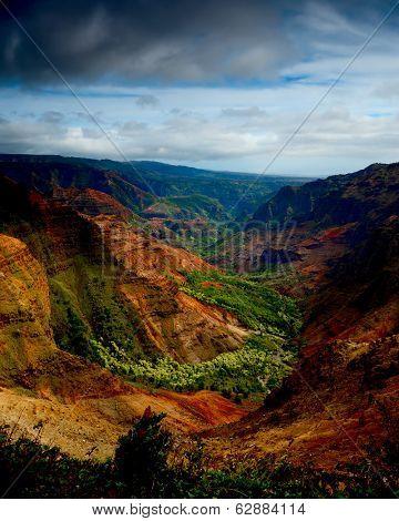 beautiful Vertical image of the lush Waimea Canyon, Kauai