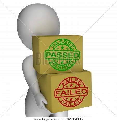 Passed And Failed Boxes Mean Product Testing Or Validation