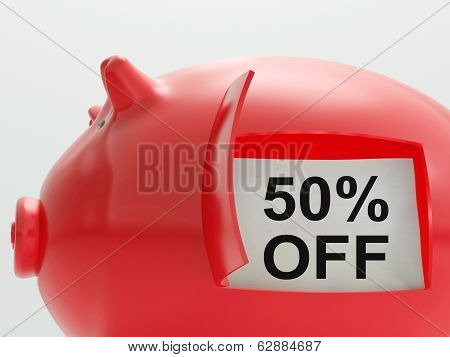 Fifty Percent Off Piggy Bank Shows 50 Price Cut