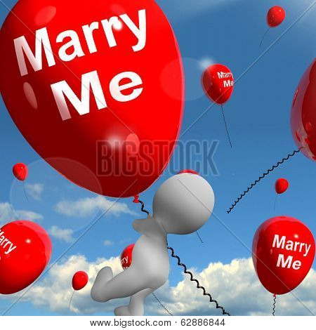 Marry Me Balloons Represents Engagement Proposal For Lovers